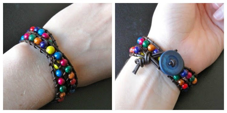 closeup of leather bead bracelet on