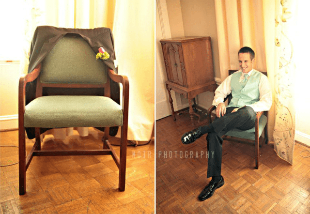 groom sitting in chair with leg across his knee