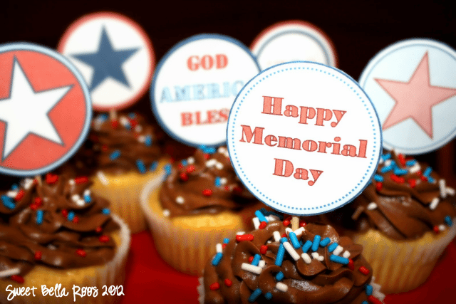 Memorial Day Cupcake Toppers: Free Printable
