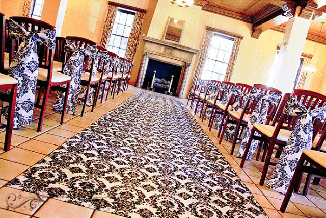black and white damask aisle runner