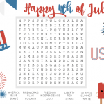 Print this July Fourth Word Search Free Printable for your kiddos. Word searches are great for young readers and perfect for indoor quiet time.