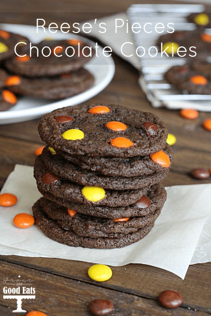stack of reese's pieces cookies