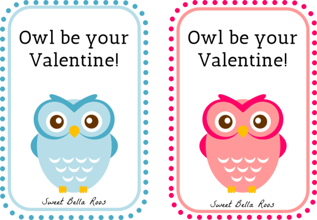 Owl Be Your Valentine Free Printable- Sweet Bella Roos #printable #owl #pink #blue #valentine