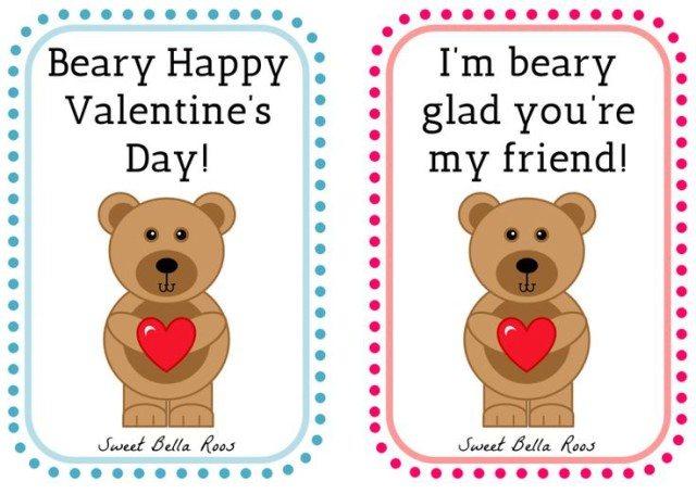 Beary Happy Valentine's Day Free Printable- Sweet Bella Roos #printable #bear #pink #blue #valentine