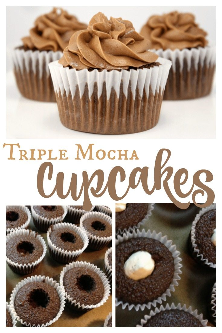 These Mocha Cupcakes have a mocha cream cheese filling and sweet mocha buttercream frosting. Delicious mocha cupcakes to satisfy any chocolate lover!