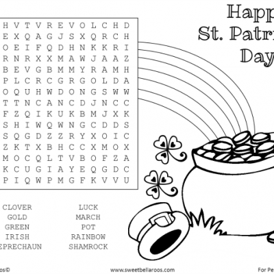 Free St. Patrick's Day Word Search Printable