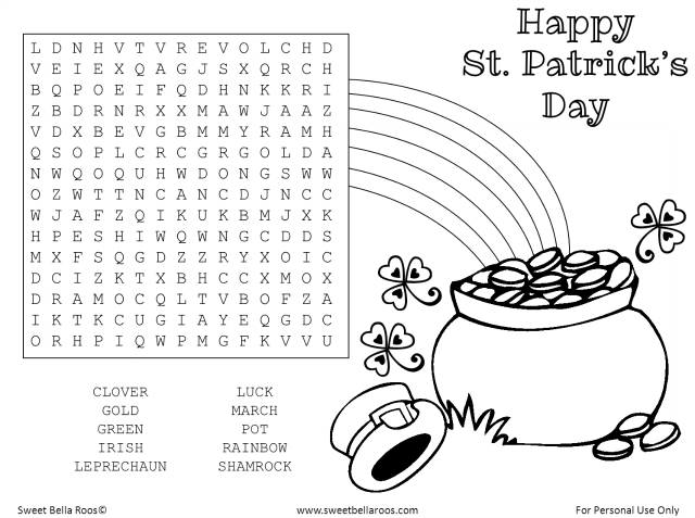 Free St. Patrick's Day Word Search & Coloring Page Printable sweetbellaroos.com #free #printable