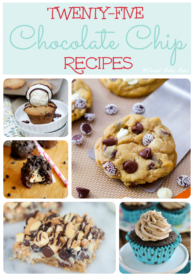 25 chocolate chip recipes- cookies, cakes, cupcakes, milk shakes and more! #chocolatechip #recipe