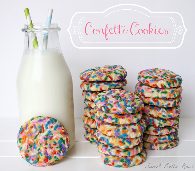 Confetti Cookies... delicious sugar cookies rolled in sprinkles. #recipe #cookies