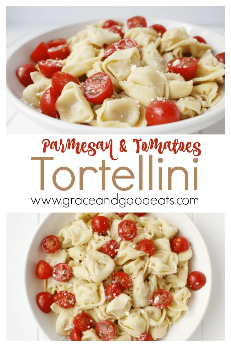 This Parmesan Tortellini and Tomatoes recipe is a deliciously filling pasta dish without the traditional heavy sauce. One of my favorite weeknight meals because it takes less than ten minutes to prepare and cook.
