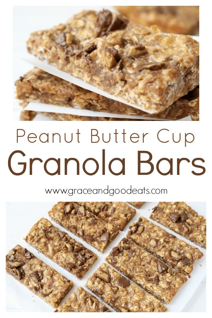 Yummy pieces of chopped peanut butter cups in a chewy granola bar.  These Peanut Butter Cup Granola Bars are a delicious after-school snack or lunchbox treat!
