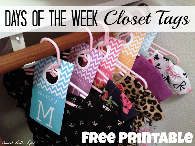Days of the Week Closet Tags- Free Printable to help ease your morning routine! #printable