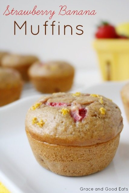 strawberry banana muffins on a plate