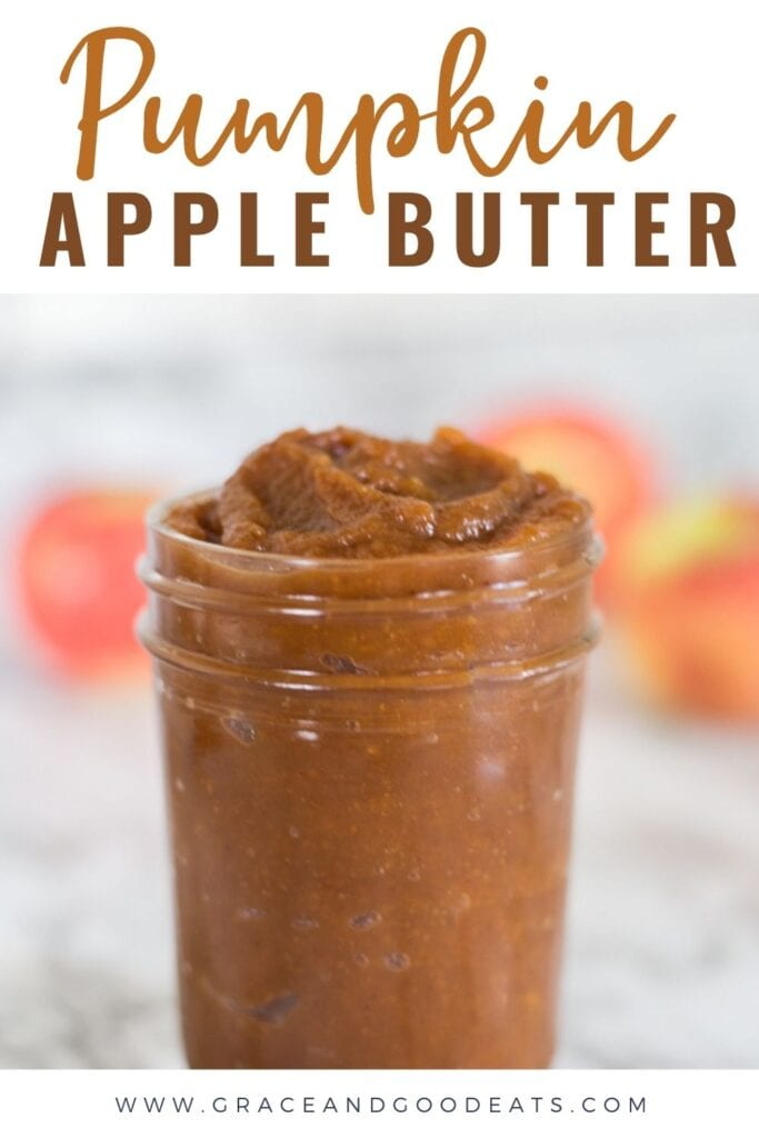 Pumpkin Apple Butter made with steamed apples and pumpkin puree. Make this quick recipe in a blender or food processor and then spread on biscuits or add to oatmeal!