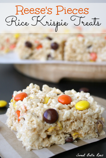 Reese's Pieces Rice Krispie Treats- an easy, festive Fall treat!