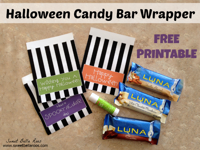 Halloween candy bar wrapper free printable- great teacher or neighbor gift!