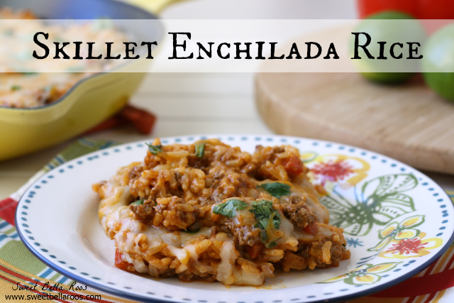 Skillet Enchilada Rice- the flavor of enchiladas, without all the work! #recipe