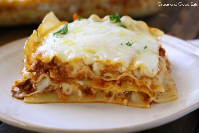 Creamy Lasagna Without Ricotta Cheese On A Plate
