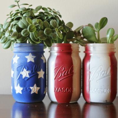 DIY American Mason Jar Planters Tutorial