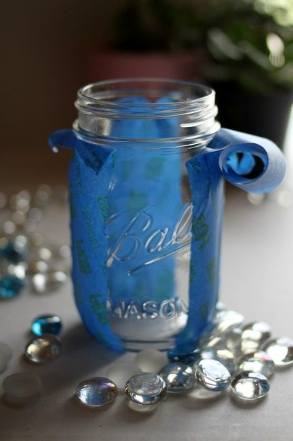 mason jar with painter's tape