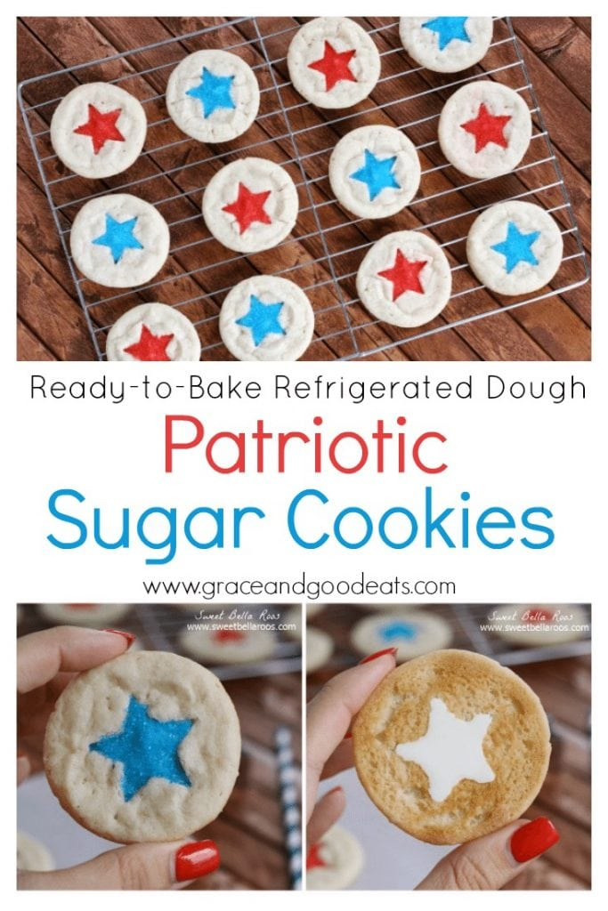 Use ready-to-bake refrigerated cookie dough to make these patriotic sugar cookies.  Take these festive cookies to the next level with a little white chocolate, red and blue sprinkles, and a star shaped cookie cutter.