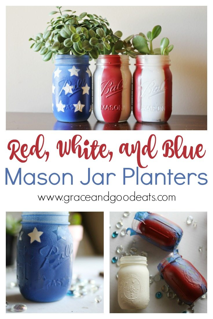 How cute are these DIY American Mason Jar Planters? Grab some old mason jars and low maintenance succulents for this super easy 4th of July craft.