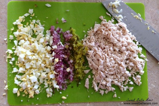 diced ingredients for spicy chicken salad