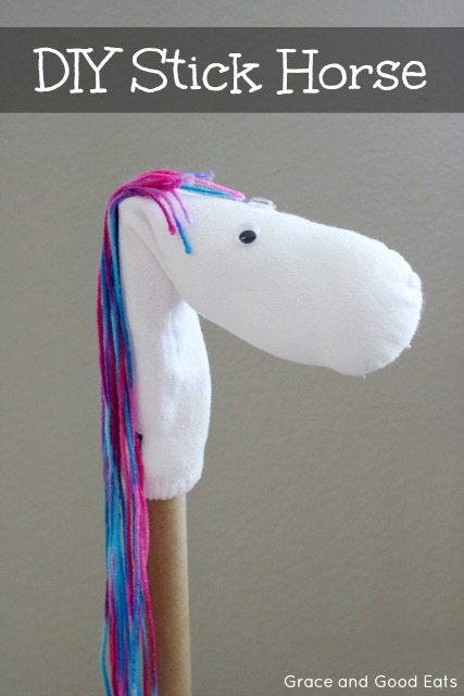 Quick tutorial for a DIY no-sew sock stick horse.  An easy project that only takes a few minutes time and some inexpensive materials to complete.