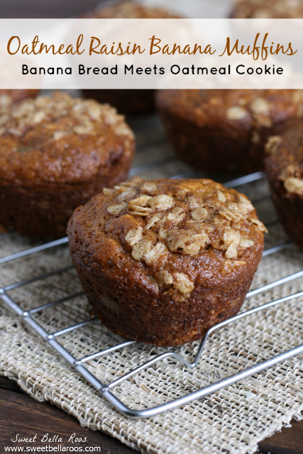 Oatmeal Raisin Banana Muffins- tastes like banana bread + oatmeal cookies!
