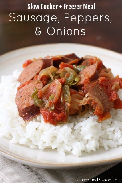 This Sausage, Peppers, and Onions dish is an easy weeknight meal. This recipe can be frozen ahead and cooked in a slow-cooker.