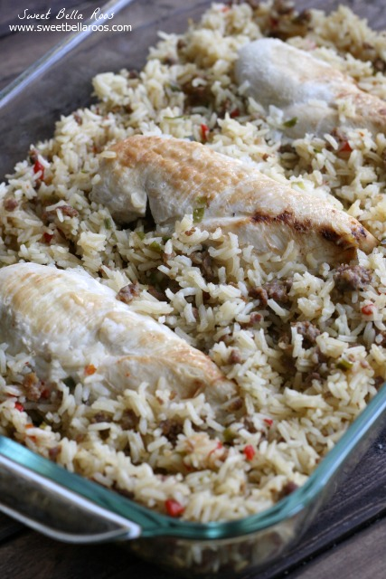 chicken and rice casserole from scratch in a glass baking dish