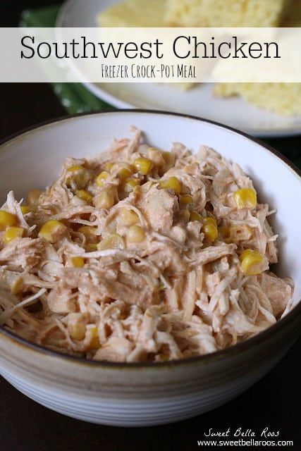 southwest crockpot chicken with cream cheese and corn in a bowl