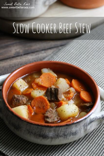 portion of slow cooker beef stew in a ramekin