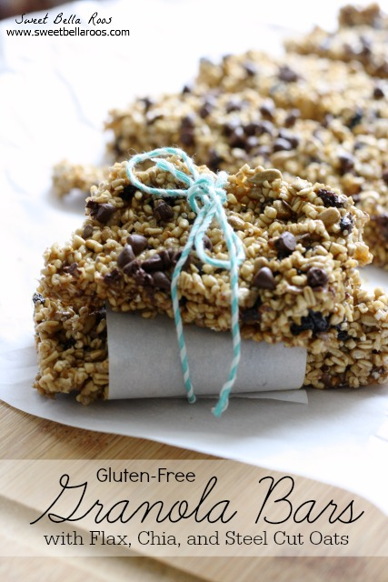 homemade gluten free granola bars tied with a string