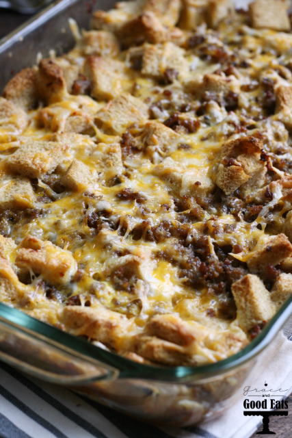 Sausage and Cheese Breakfast Casserole- make it the night before, almost like a savory bread pudding