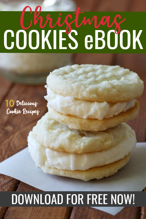 cover of a holiday cookies ebook with stacked lemon cookies