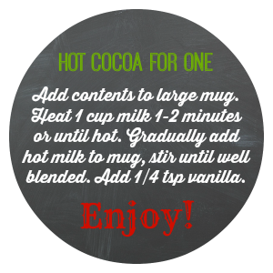 Single Serving Hot Cocoa- perfect to gift in little containers filled with marshmallows, peppermint, etc