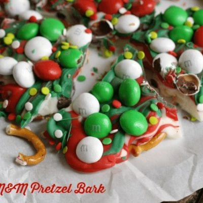 M&M Candy Pretzel Bark