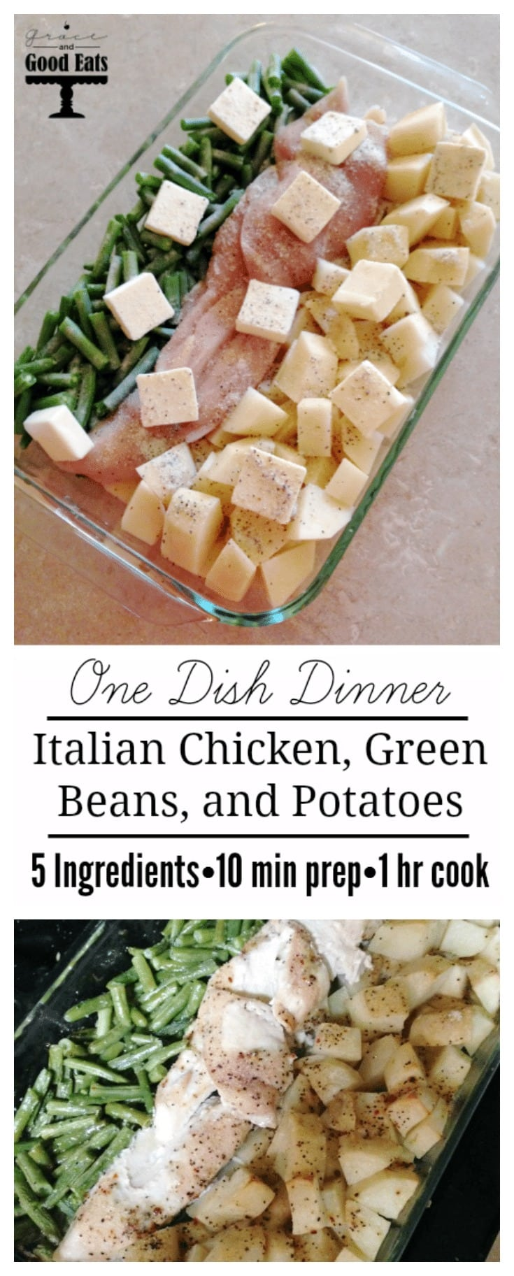 One dish dinner! Italian chicken, green beans, and potatoes. 5 ingredients, easy and delicious! Will make this again for sure.