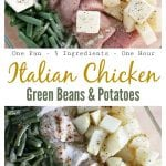 This Italian Chicken, Green Beans, and Potatoes recipe is a delicious one pot wonder that only requires 5 ingredients and 10 minutes of prep time. Serve it with rolls and you have dinner in under an hour!