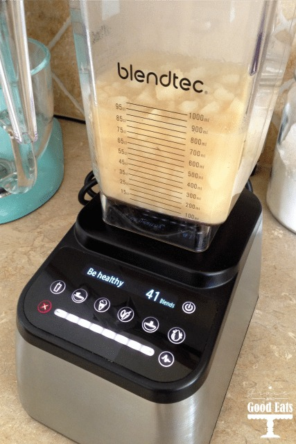 blendtec full of creamy potato soup
