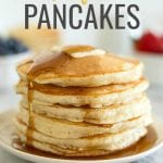 Easy Pancakes | Simple ingredients and a few minutes time is all you need to make this delicious pancake recipe. Load these perfect pancakes up with fresh fruit or drown them in your favorite maple syrup. #pancakes#homemadepancakes#fluffypancakes#pancakerecipe#graceandgoodeats