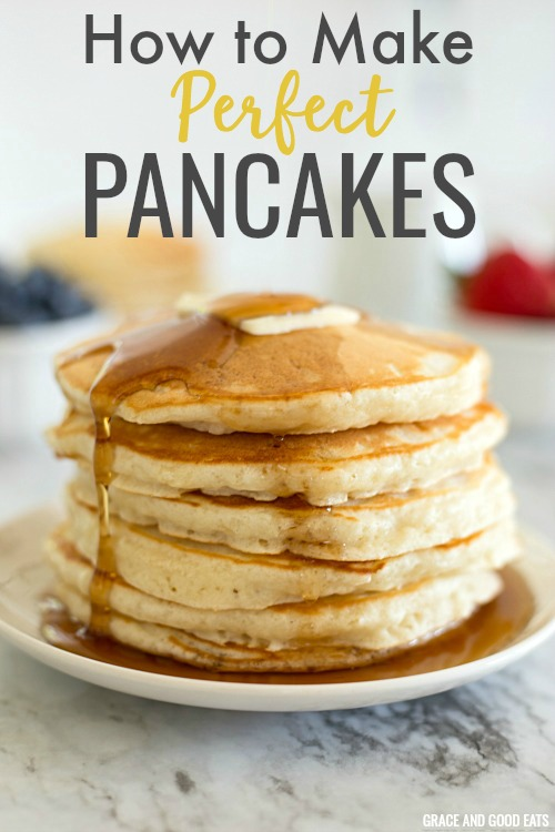 Easy Pancakes | Simple ingredients and a few minutes time is all you need to make this delicious pancake recipe. Load these perfect pancakes up with fresh fruit or drown them in your favorite maple syrup. #pancakes #homemadepancakes #fluffypancakes #pancakerecipe #graceandgoodeats