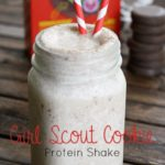 This Girl Scout Cookie Protein Shake is delicious, packed with protein, and can be made with different cookies. Chocolate and peanut butter is the perfect combo for this Girl Scout Cookie protein shake!