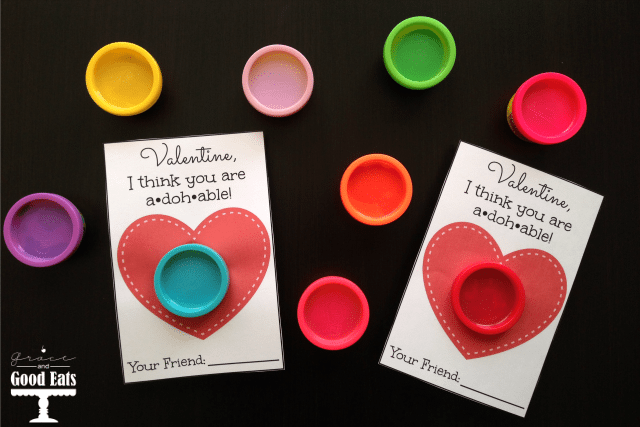 Play-Doh Valentine cards on a table