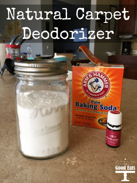 Make your own natural carpet deodorizer using just two ingredients: Young Living essential oils and baking soda.