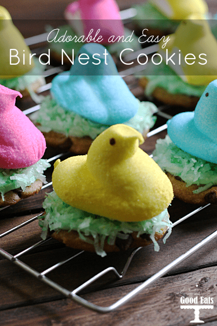 Use pre-made icing and refrigerated cookie dough to make these easy and adorable bird nest cookies! #Easter