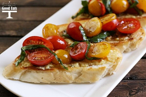This delicious Garlic Tomato Basil Bruschetta is the perfect summer appetizer or snack.