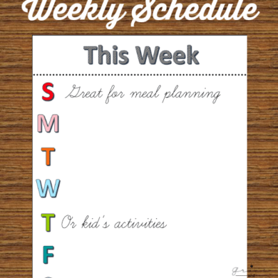 Weekly Schedule Free Printable