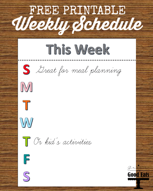 Free Printable Weekly Schedule- perfect for kid's activities or as a menu planner #printable